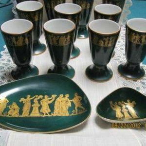 13 Pcs.Hunter Green Royal Porzellan BavariaKM Cups